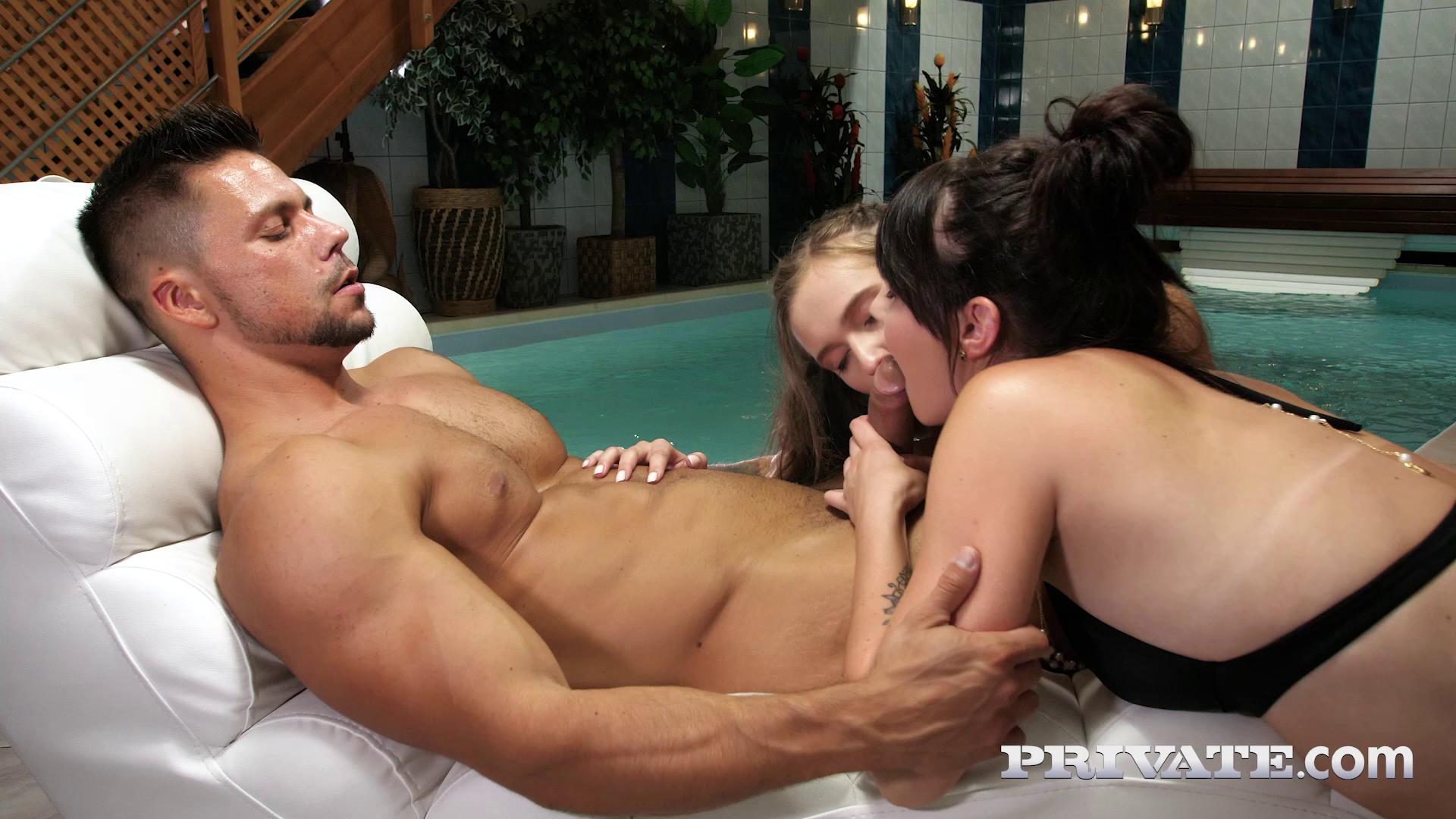 Elena Vega And Stacy Cruz Threesome At The Spa